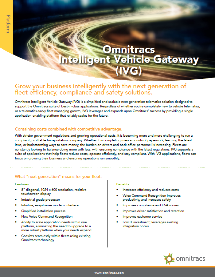 Intelligent Vehicle Gateway (IVG) Brochure