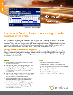 Hours Of Service Brochure