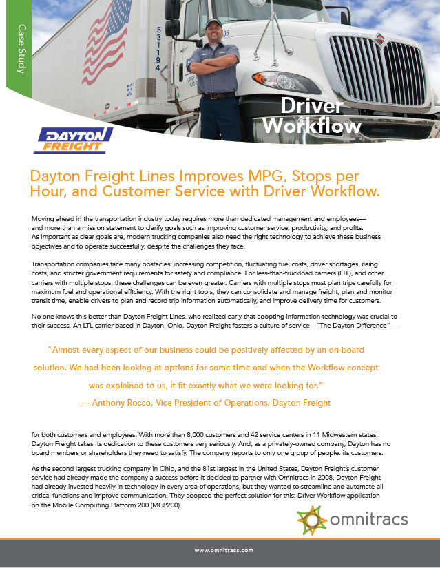 Dayton Freight Lines Driver Workflow Case Study | Omnitracs