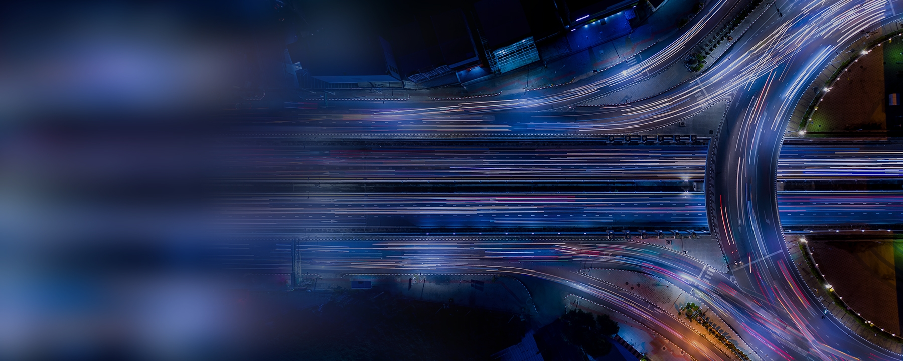 Overview of highway with motion blur