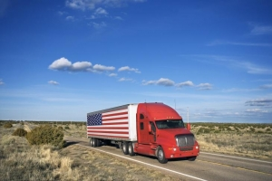 Image of an American Flag truck