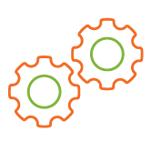 two orange and green gear wheels next to each other